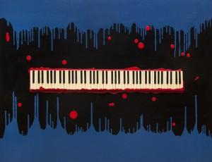 Холст, эмали, клавиши раритетного пианино. 130х160. Цена по запросу.