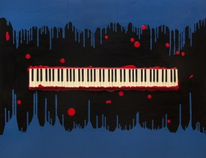 Canvas, enamels, keys of antique piano, 130x160. Price by request.