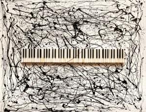 """Холст, масло, эмали, клавиши из слоновой кости от антикварного пианино 19 в. """"Smidt & Wegener"""", 130х160. Цена по запросу."""