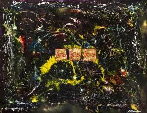 Холст, акрил, эмаль по фарфору, сусальное золото, 70х90. ПРОДАНО.
