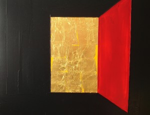 Canvas, acrylic, gold leaf, 70x80. SOLD.