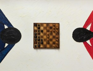 Canvas, oil, boxwood chess 19th century, 100x140. SOLD.